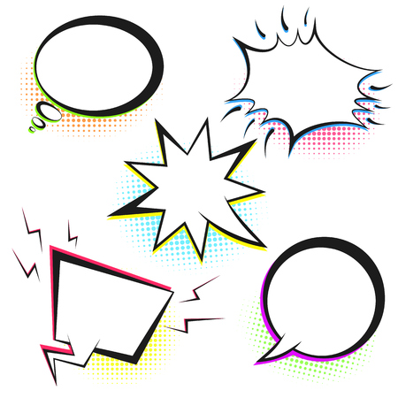 Set of white empty retro comic speech bubbles with colored halftone in pop art style. Black outline message balloons for comics book or advertising superhero text, web design Stock Illustratie
