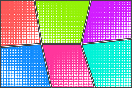 Colorful bright halftone dotted backgrounds set for pop art comic bubbles. Cartoon funny retro strip mockup for comics book text, retro speech bubble, message