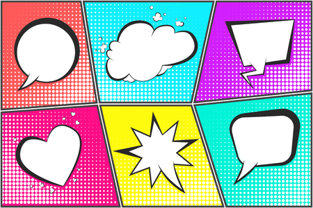 Comic speech bubbles on halftone backgrounds set in pop art style. Black outline blank message balloons in shape of cloud, heart, star, circle for comics book, advertisement text, web design, badge.