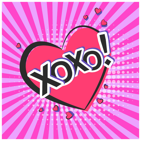 Bright lovely pink retro comic speech bubble with XOXO text and hearts. Black outline heart shape balloon with purple striped background in pop art style for advertisement text, web design, flyer