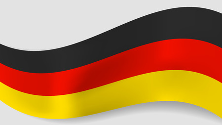 Abstract vector wavy German flag background. Ribbon with black, red and yellow Germany flag colors for national holidays and events banners design Stock Illustratie