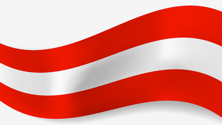 Abstract vector wavy Austrian flag with shadow on white background. Ribbon with red and white Austrian flag colors for national holidays and events banners design.