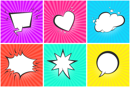 Comic speech bubbles on halftone backgrounds set in pop art style. Black outline blank message balloons in shape of cloud, heart, star, circle for comics book, advertisement text, web design, badge