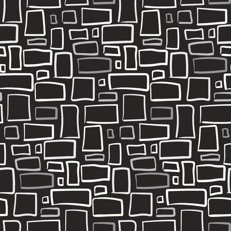 Abstract seamless pattern with monochrome rectangles. Illustration