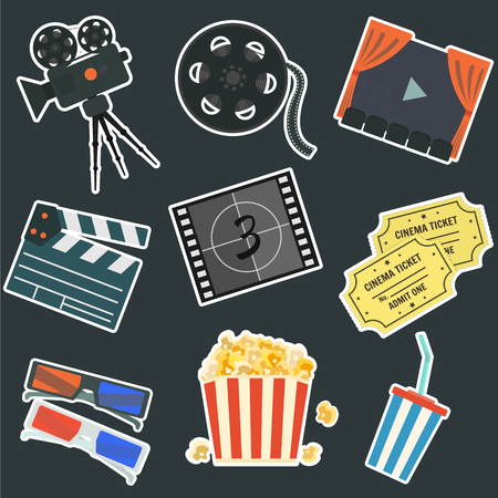 Nice flat vector cinematography stickers on black background set. Film production symbols including colorful camera, clapper, tape bobbin, screen, tickets, popcorn, cup and glasses for your design Vectores