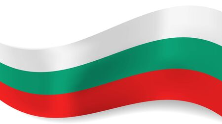 Abstract vector wavy Bulgarian flag with shadow on white background. Ribbon with white, green and red Bulgaria flag colors for national holidays and events banners design.