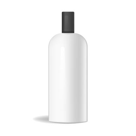 Maquette de bouteille cosmétique ou médical rectangulaire vecteur plastique réaliste. Récipient pour produits liquides de soin de la peau et du corps, gabarit pour shampooing, lotion, emballage