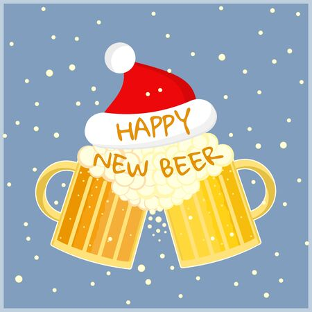 Flat cartoon colorful two beer glasses in christmas hat toast cheers symbol. Toasting foamy ale pints with Happy New Beer text. Nice color winter holidays card with beer Illustration