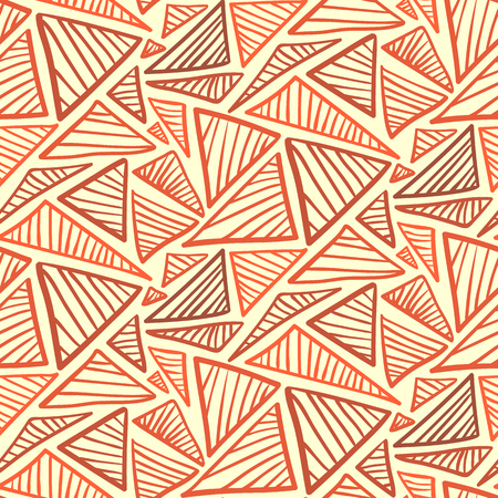 Doodle seamless pattern with warm terra cotta scribble triangles. Illustration