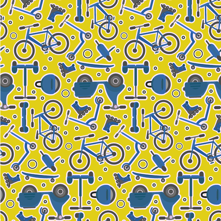 Yellow and blue seamless pattern with fashion teenager city transport in sticker style.