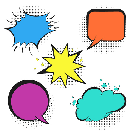 Set of colorful empty retro comic speech bubbles with black halftone shadow in pop art style. Black outline message balloons for comics book or advertising text, web design, greeting cards