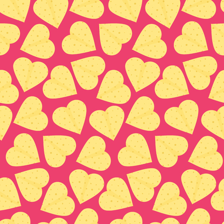 Cute pattern with yellow tortillas hearts.