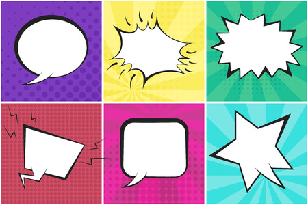 Retro comic speech bubbles on colorful dotted and striped backgrounds in pop art style. Green, blue, red, yellow, purple and pink places for comics book, advertisement text, web design, badge, banner Ilustração