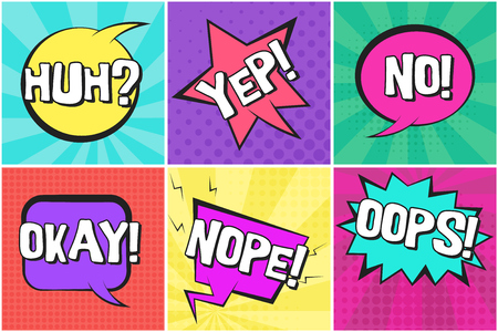 Bright colorful contrast retro comic speech bubbles set with YEP, NOPE, OKAY, HUH, OOPS words. Message balloons with halftone shadow in pop art style for advertisement, comics book design Illusztráció