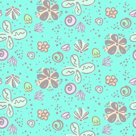 Cute tender blue doodle floral seamless pattern Illustration