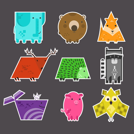 Set of flat vector cute kids educational geometrical animals stickers made of different shapes. Square elephant, rectangular raccoon, triangular fox. Nice colorful characters labels set