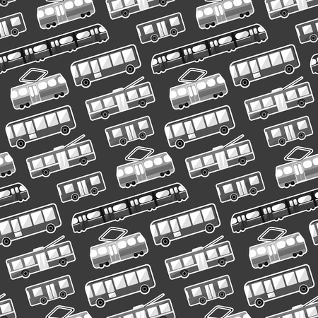 Monochrome cartoon flat city transport seamless pattern. Cute kids texture with bus, tram, trolley and underground for textile, wrapping paper, wallpaper, cover, package, background Illustration
