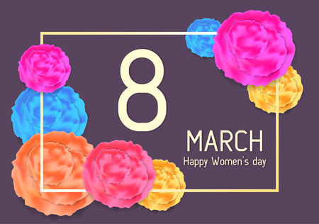 Greeting card with abstract flowers for 8 March, happy womens day, mothers day. Rectangular frame with bright color floral elements on violet background. Elegant spring card with place for text