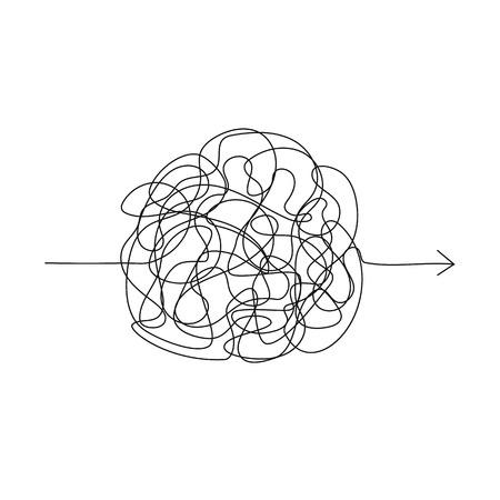 Símbolo de vector de manera complicada con elemento redondo garabateado, signo de caos, pase la flecha lineal con bola de ovillo en el centro Ilustración de vector