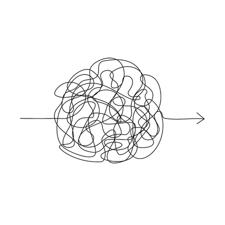 Vector symbol of complicated way with scribbled round element, chaos sign, pass the way linear arrow with clew or tangle ball in center Illustration