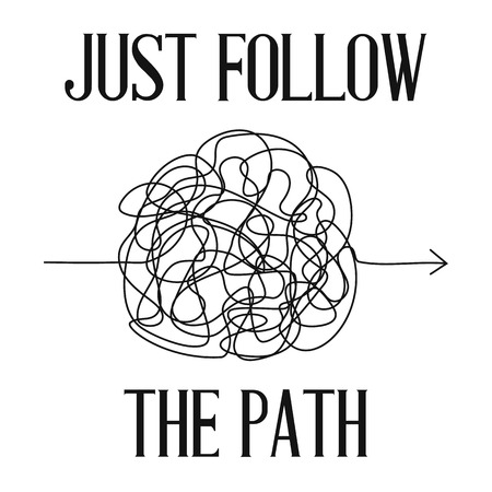 Print or poster with vector symbol of complicated way with scribbled round element, chaos sign, pass the way linear arrow with clew or tangle ball in center. Card with text just follow the path