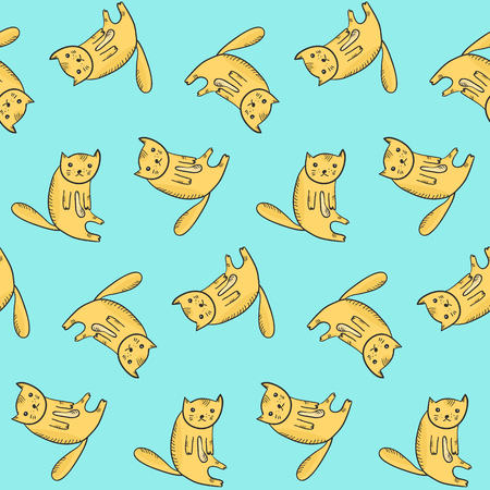 Kids seamless pattern with cute kawaii sitting orange cats. Thoughtful tired doodle kittens with light belly and hatching shadow texture for textile, wrapping paper, wallpaper, background, cover