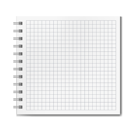 Blank realistic vector horizontal ruled square notebook with shadow template. Notepad with blank opened quad ruled page on metallic spiral, textbook or organizer mockup for your text