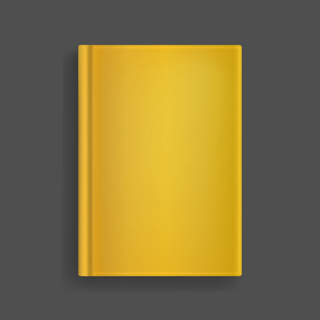 Rectangular vector blank golden realistic book cover mockup, closed organizer or notebook template with sheet of A4. Front view of elegant notepad or photobook with binding mock up for catalog, menu