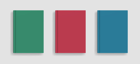 Rectangular vector blank colored realistic book cover mockup, closed organizer or notebook cover template with sheet of A4. Front view of elegant green, red and blue notepad with binding mock up