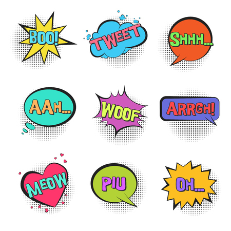 Big set of Retro comic speech bubbles with animal sounds TWEET, WOOF, SHHH, MEOW with halftone shadow in pop art style. Bright colorful balloons for comics book, advertisement text, web design, badge Ilustração