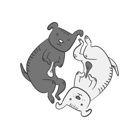 Cute funny cartoon yin and yan dogs symbol. Black and white sketchy hand drawn thoughtful and tired dogs lying in circle. Feng shui symbol, 2018 chinese new year sign