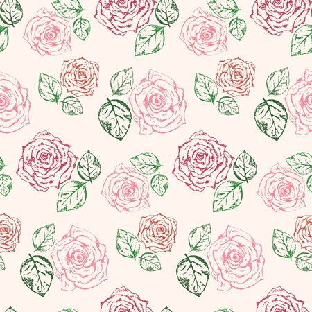 Tender vintage hand drawn seamless pattern with outline scratched pink roses bouquets and green leaves. Romantic retro flowers texture for textile, wrapping paper, surface, wallpaper, background