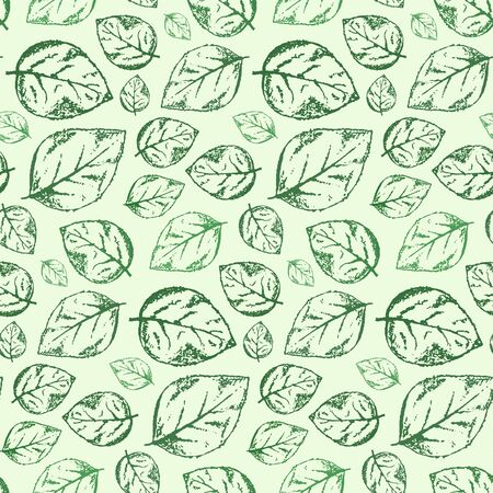 Beautiful hand drawn vintage seamless pattern with outline scratched green leaves on light green background. Romantic retro roses leaf texture for textile, wrapping paper, surface, wallpaper Illustration
