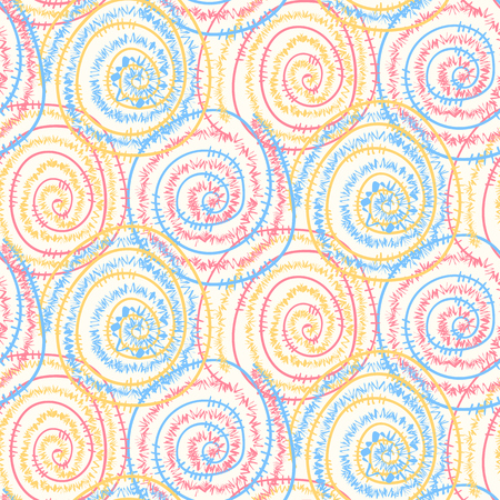 Bright light colors seamless pattern with hand drawn round spangle swirl wire spirals. Abstract tender texture with round elements for background, textile, wrapping paper, cover, surface, wallpaper