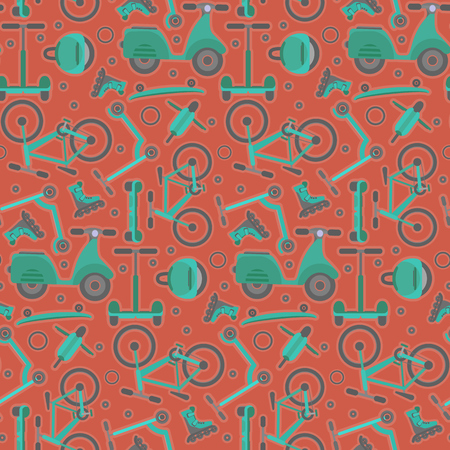 Terracotta seamless pattern with contrast aquamarine teenager bikes and scooters on red background. Cartoon blue and green youth city transport texture for textile, wrapping paper, package Illustration
