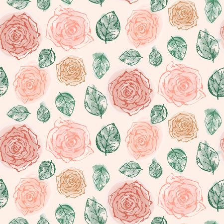 Floral pattern with tender scratched orange and red roses and green leaves. Romantic pastel retro flowers texture for textile, wrapping paper, surface, wallpaper, background
