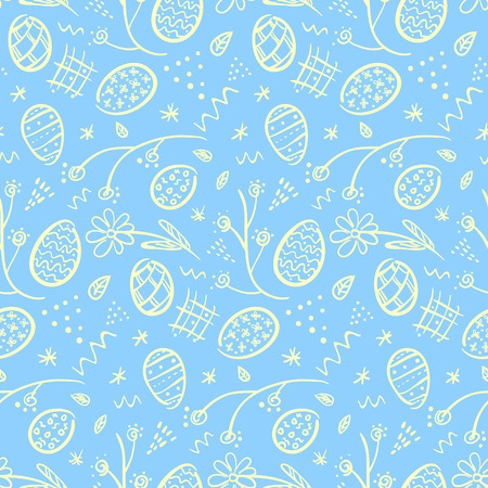 Cute doodle blue Happy Easter seamless pattern with white outline eggs, flowers, lines and dots. Tender ornate spring hand drawn texture for Easter package, wrapping paper, textile, greeting cards