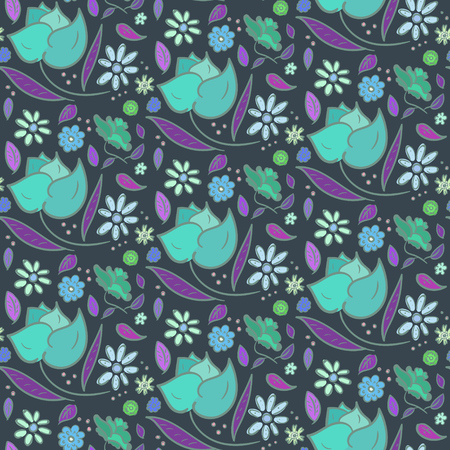 Floral seamless pattern with big blue roses and violet leaves.