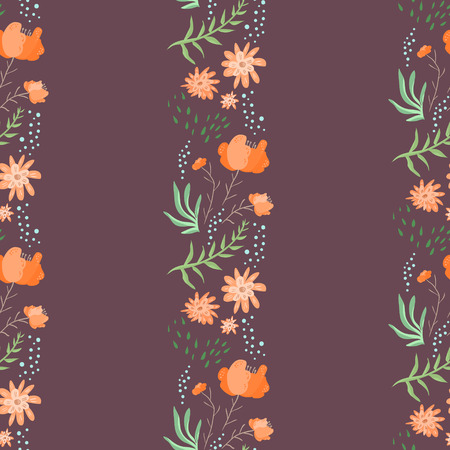 Maroon color seamless pattern with vertical doodle flowers rows. Illustration