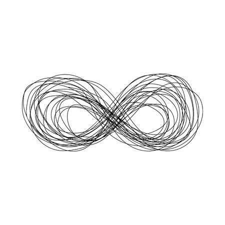 Abstract hand drawn sketch scribble infinity sign. Doodle black thin line eternity symbol of forever, together, endless, recycling