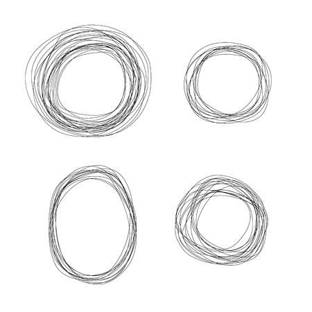 Set of vector sketchy scribble thin line circle frames. Doodle black color round and oval shape symbol for text design, decoration