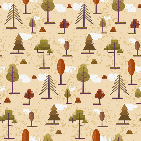 Cute flat orange and red autumn forest seamless pattern. Bright warm color nature texture with vector trees and gray birds Illustration