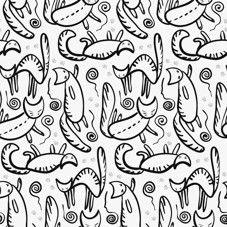 Cute pattern with outline cats silhouette with whiskers, paws and knotted clews.