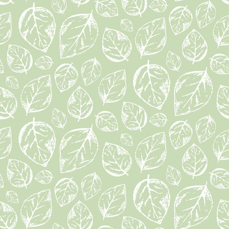 Tender hand drawn vintage seamless pattern with outline scratched white leaves on light pastel green background. Illustration