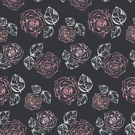 Monochrome pattern with accent pastel pink roses and white leaves on black background.