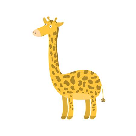 Cute bright cartoon of a giraffe vector illustration Illustration