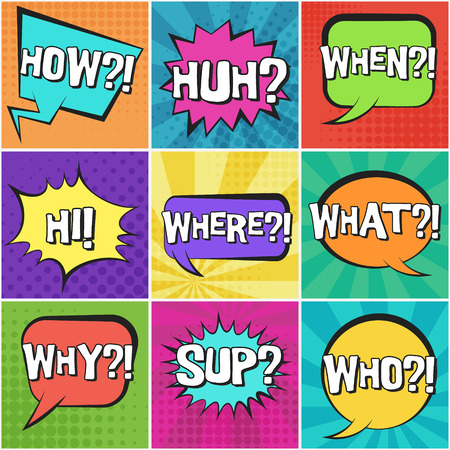 Big set of retro comic speech bubbles with questions text on colorful dotted and striped backgrounds in pop art style. Bright color places for comics book, advertisement text, web design, badge Ilustração