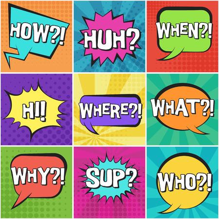Gran conjunto de burbujas de discurso cómico retro con texto de preguntas sobre fondos de puntos y rayas de colores en estilo pop art. Lugares de colores brillantes para cómics, texto publicitario, diseño web, insignia Ilustración de vector