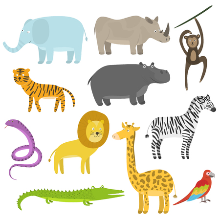 Cute cartoon flat tropical and jungle animals set. Childish illustration of savanna or safari animals for kids book design, stickers, educational and fun games, print, coloring books, mobile apps Vettoriali