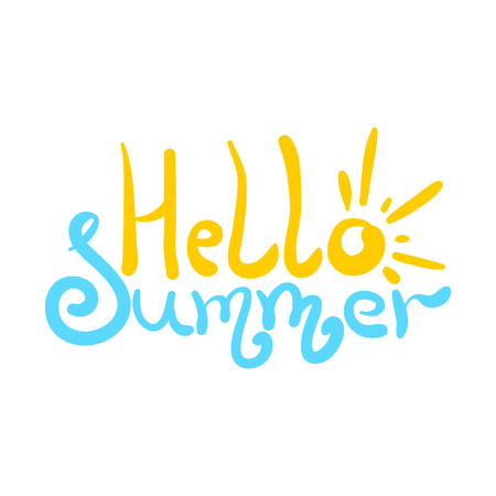 Bright colorful hello summer inscription with sun as letter o and sea as letters m. Cute description for poster or card print, decoration, header, seasonal design Illusztráció
